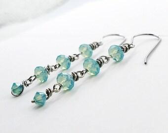 Ocean Blue Wire-Wrapped Earrings