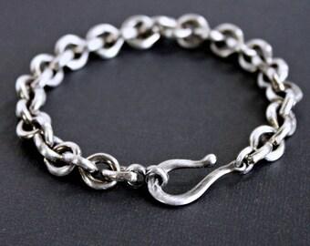 Men's Sterling Silver Heavy Link Chain Bracelet