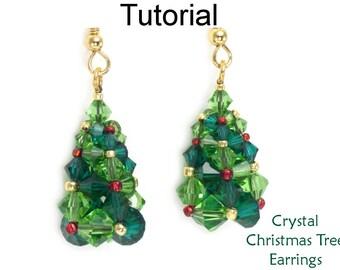Christmas Tree Earrings Jewelry Making Beading Pattern - Holiday Tutorial - Simple Bead Patterns - Crystal Christmas Tree Earrings #27885