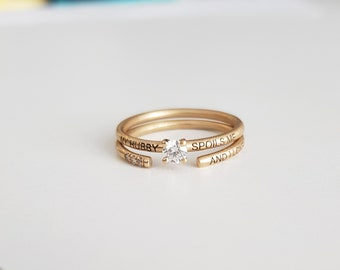 Stacking Ring Set / Gold Ring Set / Ring Set / Duo Ring Set/ Diamond ring / 14k Gold Diamond / Birthday gift / wedding anniversary gift
