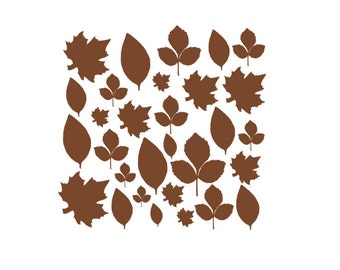 Set of 30 Small Leaves, Fall Harvest Decor, Custom Fall Decal, Vinyl Leaf Stickers, Vinyl Holiday Wall Decals, Thanksgiving Decor, Pumpkin