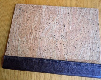 """Taupe Portuguese Textured Corkskin 9"""" x 12"""" Art Portfolio with Brown Leather"""