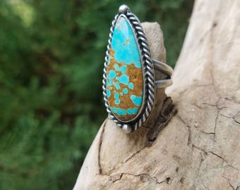Mine number 8 turquoise and sterling silver ring Size 6