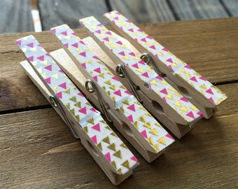 Pink and Gold Clothespin Magnets, Decorated Clothespins, Fridge Magnets