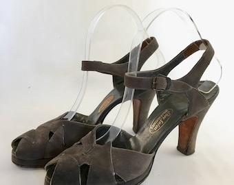 Grey suede 1940s 1950s pin up strappy heels