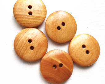 eco friendly golden orangish brown wood buttons--matching lot of 5