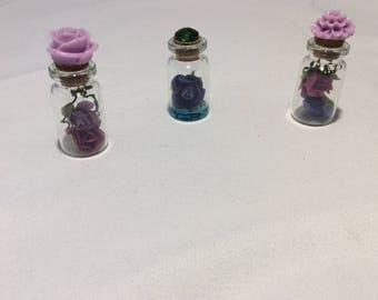 003– Set of (3) Beautiful 2 IN. flower trinket bottles