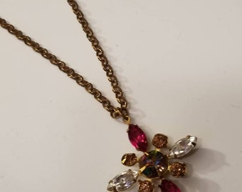 Navette Crystal Cross, Beautiful Crystal Cross Necklace, Assorted Colored Navettes, Brass Setting, Romantic, Vintage Cable Chain, Gold Tone
