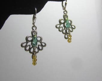 Citrine, Apatite and Peridot Sterling Silver Drop Earrings