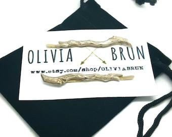 Gold Branch Bobby Pins Branch Hair Pins Branch Hair Clips Woodland Wedding Gold Bridal Hair Accessories Hair Accessories