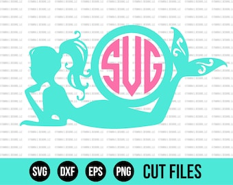Mermaid Monogram SVG - Mermaid SVG - Monogram SVG - svg Files - Cricut Cut Files - Silhouette Cut Files - Vinyl Designs - Cutting Files