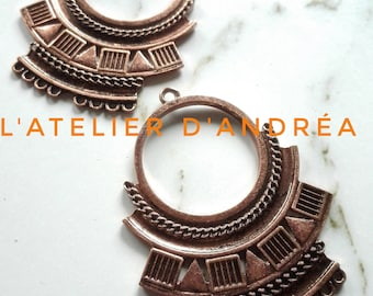 Great candle holders x 2 connectors Aztec / copper / 8 hole of 1.5 mm/46 x 36 x 2 mm