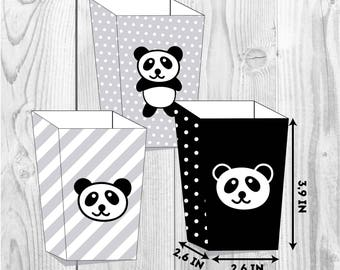 Panda happy birthday party boxes, bamboo party, party paper decoration, Birthday Party Package, printables, printing party decor, bear