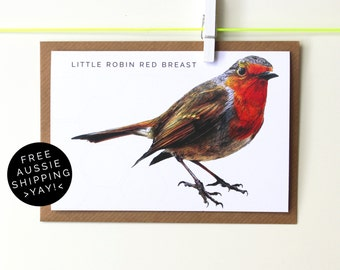 Little Robin Red Breast Christmas Card - Illustrated Greeting Card - 100% Recycled - From TheWildGooseProject