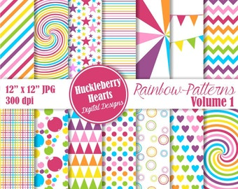 Rainbow Patterns Digital Scrapbook Paper Volume 1, Bright, Colorful, Backgrounds
