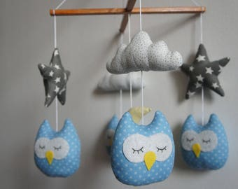 owls stars Moon and clouds louse baby mobile