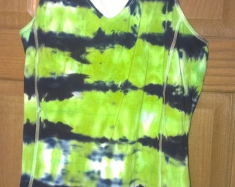 Built in Bra Top Racerback Tank with IPOD pocket Tie Dye in Horizontal Roll Effect with Chartruese and Jet Black
