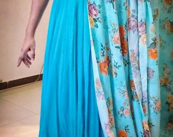 Turquoise Georgette Long Gown Anarkali with Two Dupattas