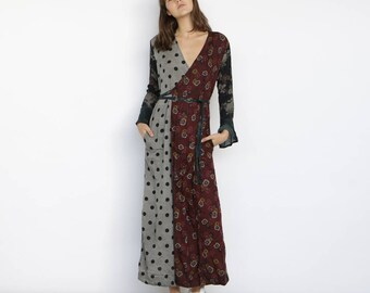 mix print dress, wrap dress maxi, wrap dress long sleeve.