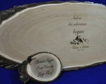 Guest Book ~ Wedding Guest Book ~ Wood Slab ~ Tree Slice ~ Guest Book Alternative ~ Mountain Theme Wedding ~ Weddings ~ Signing Boards ~ USA