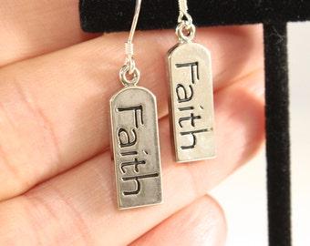 Inspirational Earrings - Faith Earrings - Word Faith Earrings - Message Earrings - Silver Word Earrings -Charm Earrings
