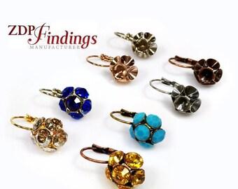 6pcs x Flower Design Dangle Earring bases For Gluing Swarovski SS24 Crystals, Choose your Finish (LB24X6V)