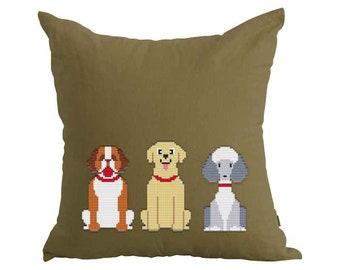PATTERN: Dogs (3), Set of 3, Modern Cross Stitch Pattern, Cute Cross Stitch Pattern, Instant Download PDF