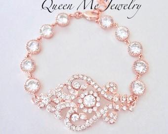 Rose gold crystal bracelet Rose gold cubic zirconia bracelet Brides bracelet Wedding Bridal Bracelet, Rose gold wedding jewelry, MIA