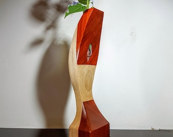 Wood vase, segmented wood vase, test tube vase, home decor, flower vase, flower holder, reclaimed wood, Paduk, Maple  wooden vase, Wood art
