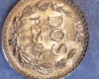 1945 Dos Pesos, 2 Pesos, Gold Investment Coin, Gold Coin, Small Gold Coin, Gold 2 Pesos, 1/25 .0482 oz. Gold Peso,