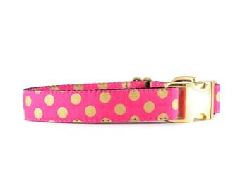 Raspberry Gold Dog Collar, Metallic Polkadots, Hot Pink Dog Collar