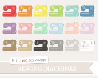 Sewing Machine Clipart, Sewing Clip Art Seamstress String Twine Crafting Spool Sew Fashion Cute Digital Graphic Design Small Commercial Use