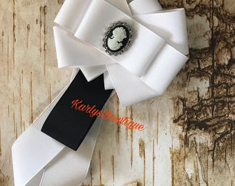 Black and white victorian  bow brooch tie