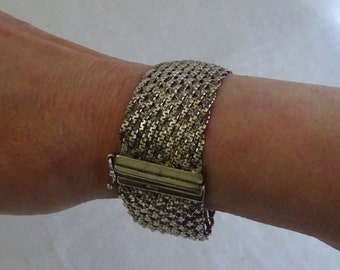 Wide Sterling Silver Braided Bracelet, Silver Mesh, Woven Chain, Chainmaille, Vintage