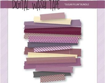 Digital Washi Tape - Sugar Plum - 15 Assorted Patterns & Sizes