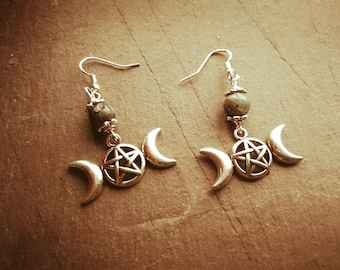 Triple moon pentacle earrings with black moonstone, goddess, Wicca, pagan, .925 ear wires