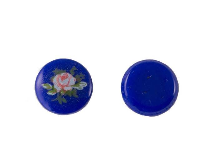 Vintage Light Pink Rose on Blue Glass Cabochons Japan 10mm (6) cab420BB