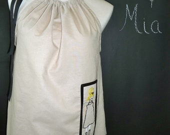 Pillowcase DRESS or TOP - Hand Embroidered Mod Girl - Made in ANY Size - Boutique Mia
