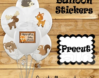Woodland Balloon Stickers Party favors cup stickers goodie bags Tablecloth stickers animal baby shower stickers Precut Personalized decor
