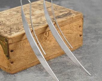 Silver Drop Earrings - Sterling Silver Earrings - Long Earrings - 925 Earrings - Simple Earrings - Designer Earrings - Long Drop Earrings
