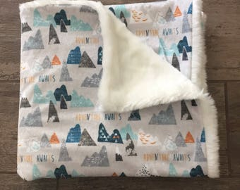 Adventure Awaits Minky and Fur Blanket, baby boy blanket, toddler blanket, the mountains are calling lovey, double cuddle blanket