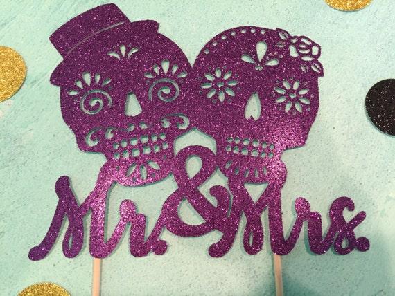Dia de los Muertos Wedding Cake Topper, Sugar Skulls Cake Topper ...