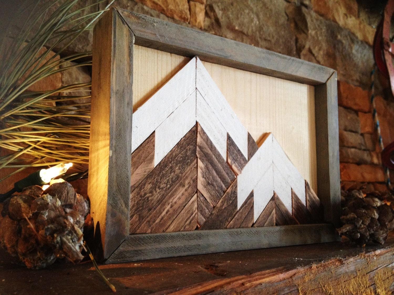 zoom Mountain wood art wall decor mountain