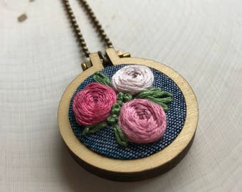 Rose Garden Embroidered Necklace
