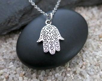 Hamsa Necklace, Sterling Silver Hamsa Hand Charm, Hamsa Jewelry