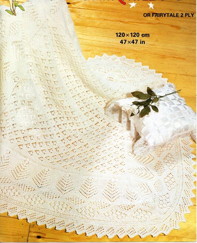 Vintage baby 2ply / 3ply square shawl knitting pattern PDF