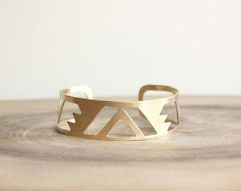 Triangle Brass Cuff Bracelet Gold - tribal aztec bracelet, modern geometric jewelry, metal cut out, bohemian cuff, clearance sale
