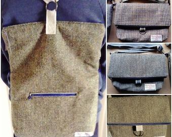 Harris Tweed Hand Made Three Ways Bag, Rucksack, Cross-Body Bag, Shoulder Bag, Floral Lining, Zip Closure and Pockets