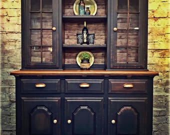 Farmhouse Hutch China Cabinet Solid Wood Bar Black and Copper