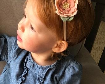 Pretty Peach Peony | Felt Flower Headband or Clip